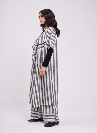 Mizalle Mızalle Keten Çizgili Uzun Kimono Hırka  Ekru